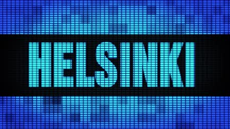 バルト海 : HELSINKI Front Text Scrolling on Light Blue Digital LED Display Board Pixel Light Screen Looped Animation 4K Background. Sign Board , Blinking Light, Pixel Monitor . LED Wall Pannel 動画素材