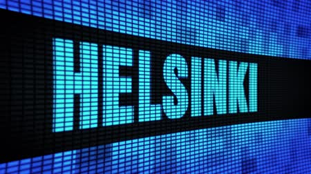バルト海 : HELSINKI side Text Scrolling on Light Blue Digital LED Display Board Pixel Light Screen Looped Animation 4K Background. Sign Board , Blinking Light, Pixel Monitor . LED Wall Pannel 動画素材
