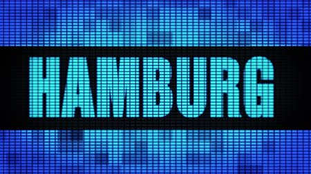 parede : HAMBURG Front Text Scrolling on Light Blue Digital LED Display Board Pixel Light Screen Looped Animation 4K Background. Sign Board , Blinking Light, Pixel Monitor . LED Wall Pannel Vídeos