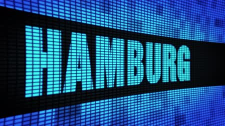 hambourg : HAMBURG Side Text Scrolling on Light Blue Digital LED Display Board Pixel Light Screen Looped Animation 4K Background. Panneau de signalisation, lumière clignotante, moniteur de pixels. Panneau mural LED