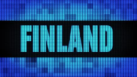 laponie : FINLAND Front Text Scrolling on Light Blue Digital LED Display Board Pixel Light Screen Looped Animation 4K Background. Sign Board , Blinking Light, Pixel Monitor . LED Wall Pannel Vidéos Libres De Droits