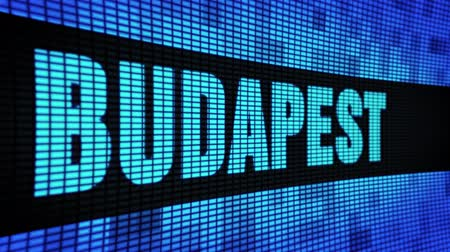 budapeste : BUDAPEST Side Text Scrolling on Light Blue Digital LED Display Board Pixel Light Screen Looped Animation 4K Background. Sign Board , Blinking Light, Pixel Monitor . LED Wall Pannel