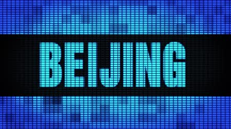 peking : BEIJING Front Text Scrolling on Light Blue Digital LED Display Board Pixel Light Screen Looped Animation 4K Background. Sign Board , Blinking Light, Pixel Monitor . LED Wall Pannel