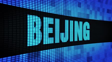 peking : BEIJING Side Text Scrolling on Light Blue Digital LED Display Board Pixel Light Screen Looped Animation 4K Background. Sign Board , Blinking Light, Pixel Monitor . LED Wall Pannel Dostupné videozáznamy
