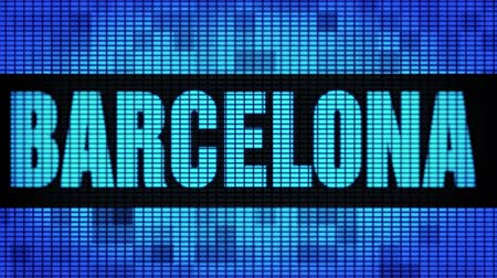 barcellona : BARCELONA Front Text Scrolling on Light Blue Digital LED Display Board Pixel Light Screen Looped Animation 4K Background. Sign Board , Blinking Light, Pixel Monitor . LED Wall Pannel
