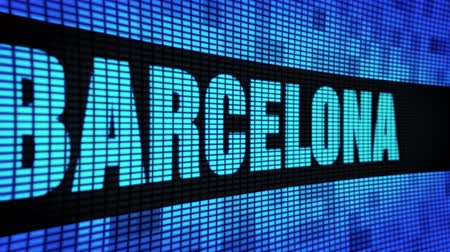ceramika : BARCELONA Side Text Scrolling on Light Blue Digital LED Display Board Pixel Light Screen Looped Animation 4K Background. Sign Board , Blinking Light, Pixel Monitor . LED Wall Pannel Wideo
