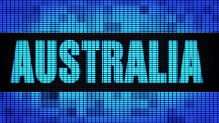 australian landscape : AUSTRALIA Front Text Scrolling on Light Blue Digital LED Display Board Pixel Light Screen Looped Animation 4K Background. Sign Board , Blinking Light, Pixel Monitor . LED Wall Pannel Stock Footage