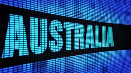 australian landscape : AUSTRALIA Side Text Scrolling on Light Blue Digital LED Display Board Pixel Light Screen Looped Animation 4K Background. Sign Board , Blinking Light, Pixel Monitor . LED Wall Pannel