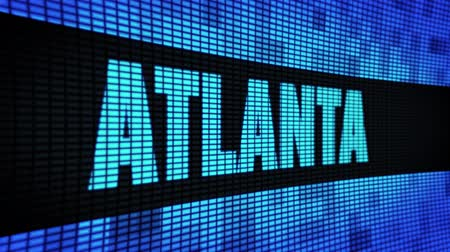 ga : ATLANTA Side Text Scrolling on Light Blue Digital LED Display Board Pixel Light Screen Looped Animation 4K Background. Sign Board , Blinking Light, Pixel Monitor . LED Wall Pannel Stock Footage