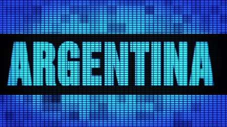 patagonie : ARGENTINA Front Text Scrolling on Light Blue Digital LED Display Board Pixel Light Screen Looped Animation 4K Background. Sign Board , Blinking Light, Pixel Monitor . LED Wall Pannel