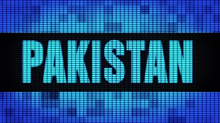 paquistão : PAKISTAN Front Text Scrolling on Light Blue Digital LED Display Board Pixel Light Screen Looped Animation 4K Background. Sign Board , Blinking Light, Pixel Monitor . LED Wall Pannel Stock Footage