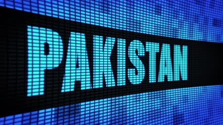 plakat : PAKISTAN side Text Scrolling on Light Blue Digital LED Display Board Pixel Light Screen Looped Animation 4K Background. Sign Board , Blinking Light, Pixel Monitor . LED Wall Pannel