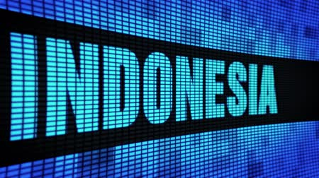 pozdrav : INDONESIA side Text Scrolling on Light Blue Digital LED Display Board Pixel Light Screen Looped Animation 4K Background. Sign Board , Blinking Light, Pixel Monitor . LED Wall Pannel Dostupné videozáznamy
