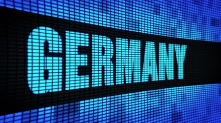 contornos : GERMANY Side Text Scrolling on Light Blue Digital LED Display Board Pixel Light Screen Looped Animation 4K Background. Sign Board , Blinking Light, Pixel Monitor . LED Wall Pannel