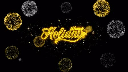 weihnachtlich : Happy Holidays Golden Greeting Text Appearance Blinking Particles with Golden Fireworks Display 4K for Greeting card, Celebration, Invitation, calendar, Gift, Events, Message, Holiday, Wishes . Videos