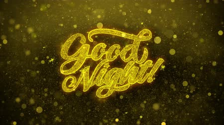 dětinský : Good Night Greetings card Abstract Blinking Golden Sparkles Glitter Firework Particle Looped Background. Gift, card, Invitation, Celebration, Events, Message, Holiday, Festival