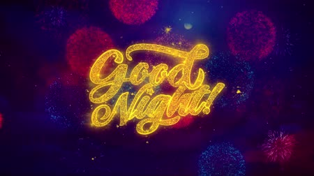 ágynemű : Good Night Greeting Text with Particles and Sparks Colored Bokeh Fireworks Display 4K. for Greeting card, Celebration, Party Invitation, calendar, Gift, Events, Message, Holiday, Wishes. Stock mozgókép