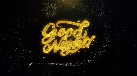 ágynemű : Good Night Written Gold Glitter Particles Spark Exploding Fireworks Display 4K . Greeting card, Celebration, Party Invitation, calendar, Gift, Events, Message, Holiday, Wishes Festival
