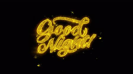 ágynemű : Good Night Typography Written with Golden Particles Sparks Fireworks Display 4K. Greeting card, Celebration, Party Invitation, calendar, Gift, Events, Message, Holiday, Wishes Festival Stock mozgókép