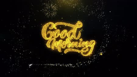 kaligrafia : Good Morning Written Gold Glitter Particles Spark Exploding Fireworks Display 4K . Greeting card, Celebration, Party Invitation, calendar, Gift, Events, Message, Holiday, Wishes Festival Wideo