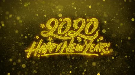 si přeje : Happy New Year 2020 Greetings card Abstract Blinking Golden Sparkles Glitter Firework Particle Looped Background. Gift, card, Invitation, Celebration, Events, Message, Holiday, Festival