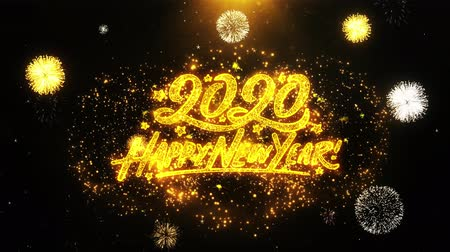 si přeje : Happy New Year 2020 Text Sparks Particles Reveal from Golden Firework Display explosion 4K. Greeting card, Celebration, Party Invitation, calendar, Gift, Events, Message, Holiday, Wishes Festival Dostupné videozáznamy