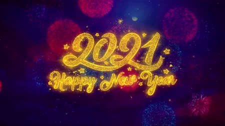 desejando : New Year 2021 Greeting Text with Particles and Sparks Colored Bokeh Fireworks Display 4K. for Greeting card, Celebration, Party Invitation, calendar, Gift, Events, Message, Holiday, Wishes.