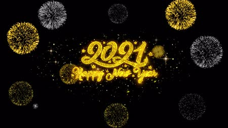 janeiro : New Year 2021 Golden Greeting Text Appearance Blinking Particles with Golden Fireworks Display 4K for Greeting card, Celebration, Invitation, calendar, Gift, Events, Message, Holiday, Wishes . Vídeos