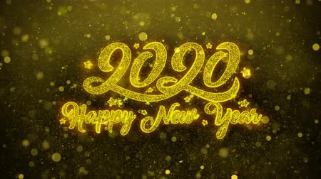 janeiro : Happy New Year 2020 Greetings card Abstract Blinking Golden Sparkles Glitter Firework Particle Looped Background. Gift, card, Invitation, Celebration, Events, Message, Holiday, Festival