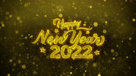 январь : Happy New Year 2022 Greetings card Abstract Blinking Golden Sparkles Glitter Firework Particle Looped Background. Gift, card, Invitation, Celebration, Events, Message, Holiday, Festival