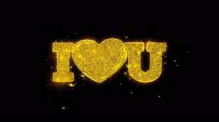 zaproszenie : I Heart Love You Typography Written with Golden Particles Sparks Fireworks Display 4K. Greeting card, Celebration, Party Invitation, calendar, Gift, Events, Message, Holiday, Wishes Festival