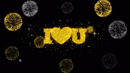 verdadeiro : I Heart Love You Golden Greeting Text Appearance Blinking Particles with Golden Fireworks Display 4K for Greeting card, Celebration, Invitation, calendar, Gift, Events, Message, Holiday, Wishes .