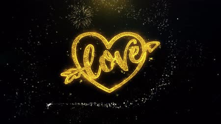 verdadeiro : love heart Valentines day Written Gold Glitter Particles Spark Exploding Fireworks Display 4K . Greeting card, Celebration, Invitation, calendar, Gift, Events, Message, Holiday, Wishes Festival