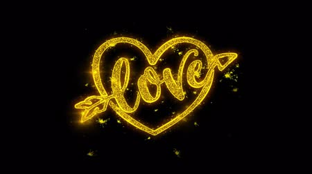 verdadeiro : love heart Valentines day Typography Written with Golden Particles Sparks Fireworks Display 4K. Greeting card, Celebration, Party Invitation, calendar, Gift, Events, Message, Holiday, Wishes Festival