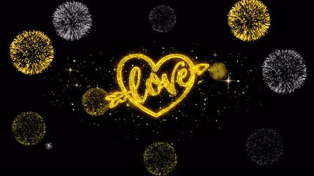 precisão : love valentines day heart Golden Greeting Text Appearance Blinking Particles with Golden Fireworks Display 4K for Greeting card, .