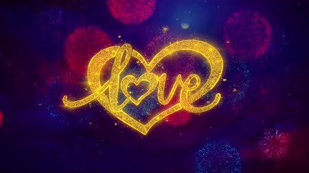 дата : love valentines day heart Greeting Text with Particles and Sparks Colored Bokeh Fireworks Display 4K Aniamtion Стоковые видеозаписи