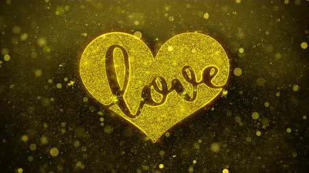 разброс : Love Heart Greetings card Abstract Blinking Golden Sparkles Glitter Firework Particle Looped Background. Gift, card, Invitation, Celebration, Events, Message, Holiday, Festival. Стоковые видеозаписи