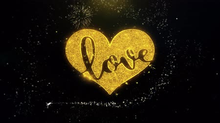 casar : Valentines Romantic love heart Written Gold Glitter Particles Spark Exploding Fireworks Display 4K . Greeting card, Gift, Events, Message, Holiday, Wishes Festival