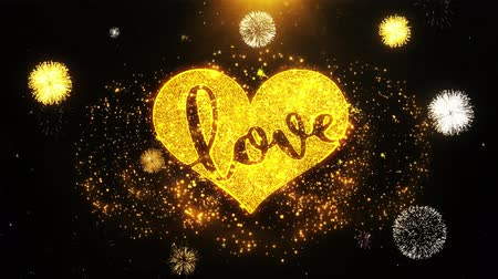 casar : Valentines Romantic love heart Text Sparks Particles Reveal from Golden Firework Display explosion 4K. Greeting card, Gift, Events, Message, Holiday, Wishes Festival .