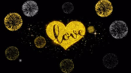 desenhada à mão : Valentines Romantic love heart Golden Greeting Text Appearance Blinking Particles with Golden Fireworks Display 4K for Gift, Events, Message, Holiday, Wishes .