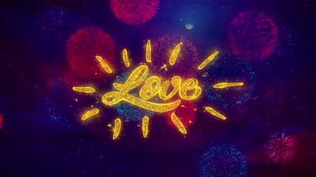 я тебя люблю : Happy Valentines day Love Greeting Text with Particles and Sparks Colored Bokeh Fireworks Display 4K. for Greeting card, Gift, Events, Message, Holiday, Wishes . Стоковые видеозаписи