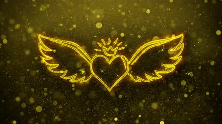 amor : Heart with Angle Wings Shape Abstract Blinking Golden Sparkles Glitter Firework Particle Looped Background 4k Background
