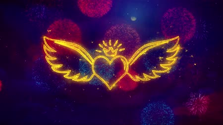amor : Heart with Angle Wings ShapeParticles and Sparks Colored Bokeh Fireworks Display 4K. for Greeting card, Celebration, Party 4K Animation