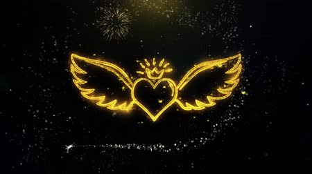 amor : Heart with Angle Wings Shape Written Gold Glitter Particles Spark Exploding Fireworks Display 4K Animation Dostupné videozáznamy