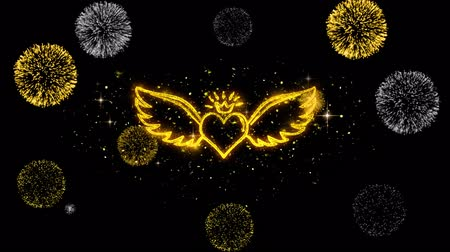 walentynki : Heart with Angle Wings Shape Golden Greeting Appearance Blinking Particles with Golden Fireworks Display 4K for Greeting card, Celebration, Invitation,