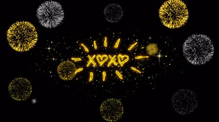 i love you : XOXO Valentines Day Golden Greeting Text Appearance Blinking Particles with Golden Fireworks Display 4K for Greeting card, Celebration, Invitation, calendar, Gift, Events, Message, Holiday, Wishes . Stock Footage