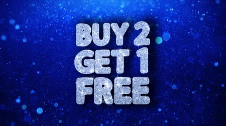 pourcent : Buy 2 Get 1 Free Blue Text Greetings card Abstrait clignotant Sparkle Glitter Particle Looped Background. Cadeau, carte, invitation, célébration, événements, message, festival de vacances