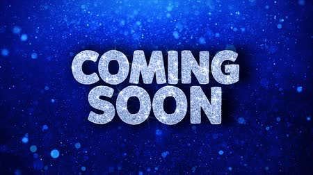 soon : Coming Soon Blue Text Greetings card Abstract Blinking Sparkle Glitter Particle Looped Background. Gift, card, Invitation, Celebration, Events, Message, Holiday Festival Stock Footage