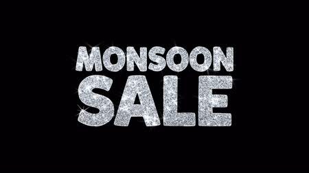 kortingen : Monsoon Sale Knipperende tekst Wenskaart Abstract Knipperende Sparkle Glitter Particle Looped Background. Geschenk, kaart, uitnodiging, viering, evenementen, bericht, vakantiefestival Stockvideo