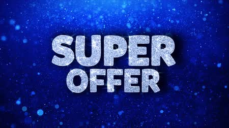 maintenant : Super Offer Blue Text Greetings card Abstract Blinking Sparkle Glitter Particle Looped Background. Gift, card, Invitation, Celebration, Events, Message, Holiday Festival